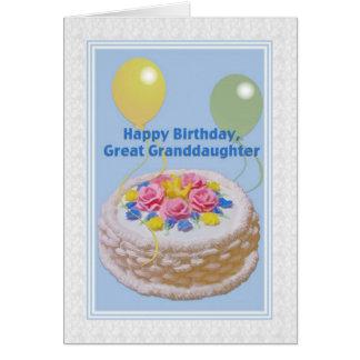 Cumpleaños, bisnieta, torta y globos tarjeta de felicitación