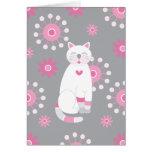 Cumpleaños blanco caprichoso del gato tarjetas