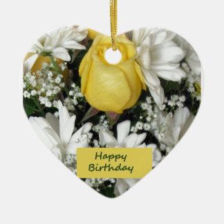 Cumpleaños blanco de Daisie del rosa amarillo Adorno