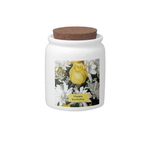 Cumpleaños blanco de Daisie del rosa amarillo Platos Para Caramelos