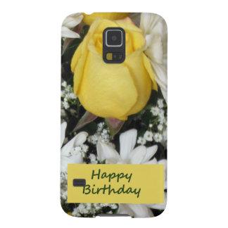 Cumpleaños blanco de Daisie del rosa amarillo Funda De Galaxy S5