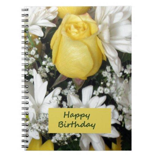 Cumpleaños blanco de Daisie del rosa amarillo Cuaderno