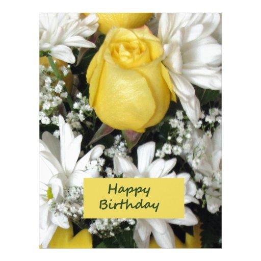 Cumpleaños blanco de Daisie del rosa amarillo Membrete A Diseño