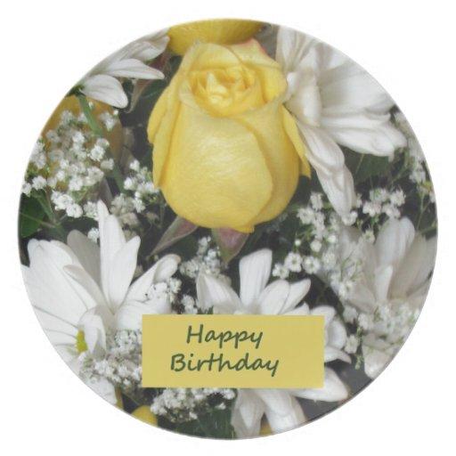 Cumpleaños blanco de Daisie del rosa amarillo Plato De Comida
