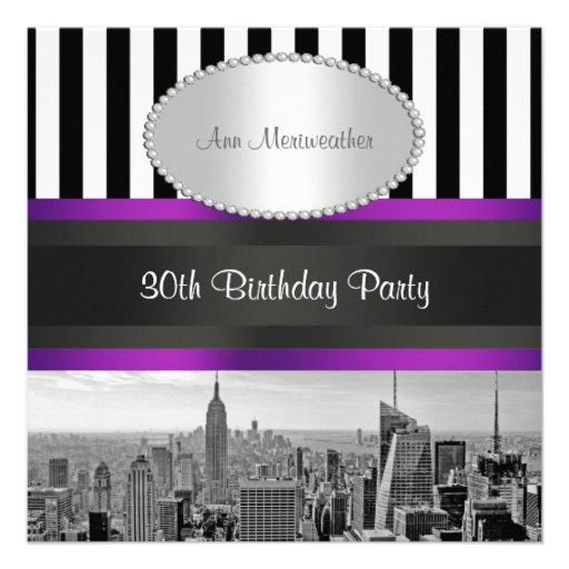 Cumpleaños blanco de la púrpura del negro Strp de  Comunicado Personalizado