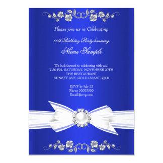 """Cumpleaños blanco elegante del arco de la joya de invitación 5"""" x 7"""""""