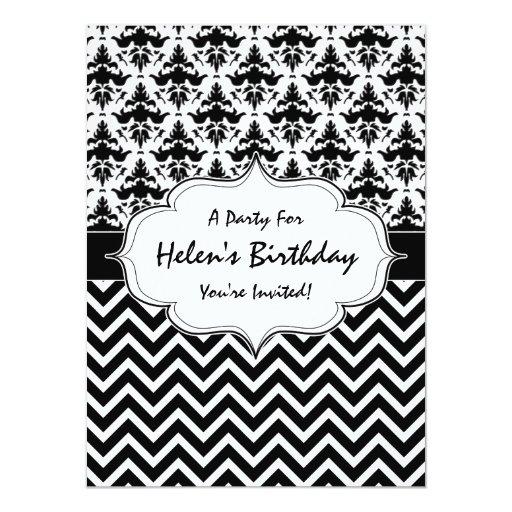 """Cumpleaños blanco negro de la moda del metro del invitación 5.5"""" x 7.5"""""""