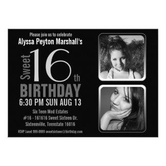 Cumpleaños blanco y negro del dulce 16 de las foto invitaciones personalizada