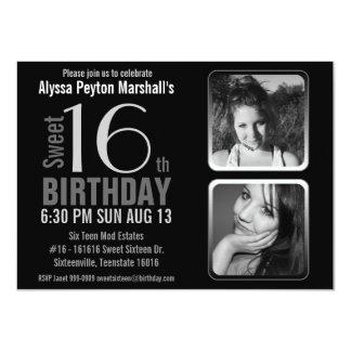 Cumpleaños blanco y negro del dulce 16 de las invitaciones personalizada
