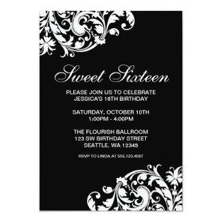 Cumpleaños blanco y negro del dulce 16 del invitación