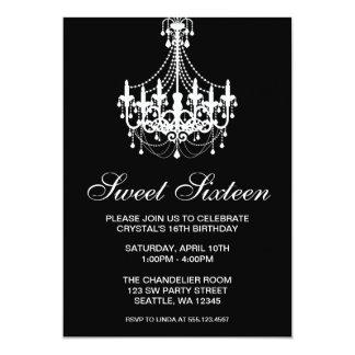 Cumpleaños blanco y negro del dulce dieciséis de invitación 12,7 x 17,8 cm