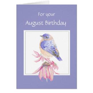Cumpleaños, Bluebird y flor de agosto Tarjeta De Felicitación