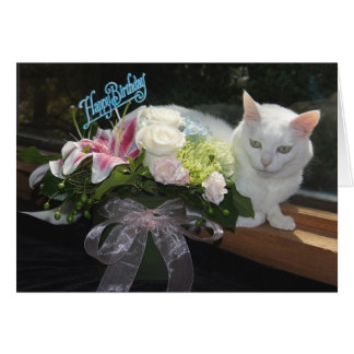 Cumpleaños bonito adaptable del gato/de las flores tarjeta