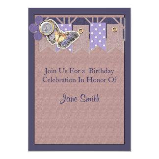 """Cumpleaños bonito de la bandera de la mariposa invitación 5"""" x 7"""""""