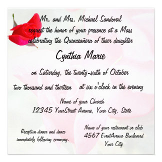 Cumpleaños bonito de Quinceanera del rosa rojo Invitacion Personalizada