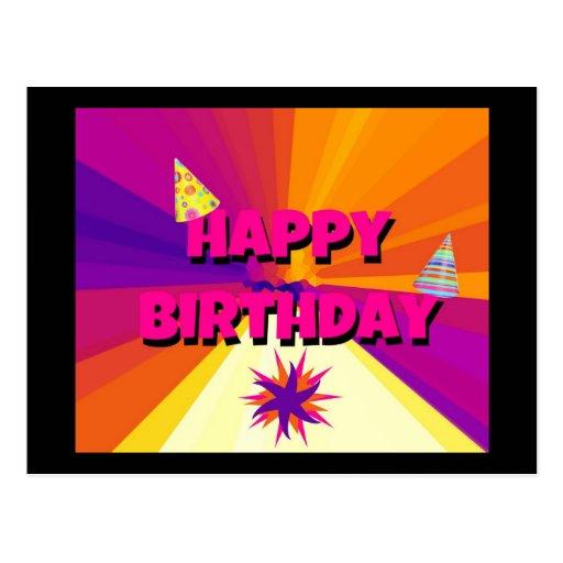 Cumpleaños brillante del arco iris postal