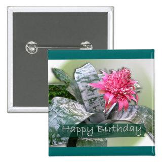 Cumpleaños Bromeliad rosado Pin Cuadrada 5 Cm