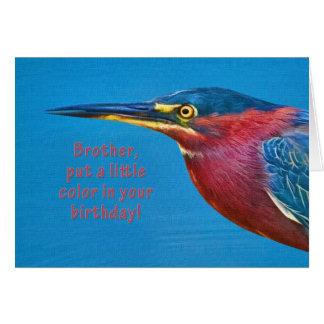 Cumpleaños, Brother, pájaro verde de la garza Tarjeta De Felicitación