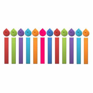 Cumpleaños Candels del arco iris del fiesta del ca Llavero Fotográfico