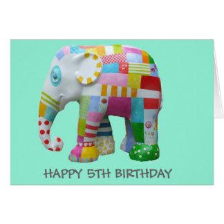 Cumpleaños caprichoso del elefante retro lindo del tarjeta de felicitación