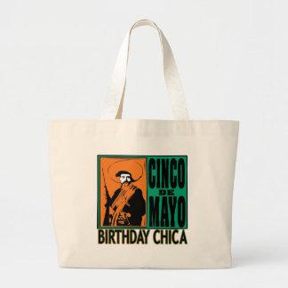 Cumpleaños Chica de Cinco de Mayo Bolsa De Tela Grande
