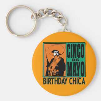 Cumpleaños Chica de Cinco de Mayo Llavero Redondo Tipo Pin