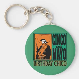 CUMPLEAÑOS CHICO de Cinco de Mayo Llavero Redondo Tipo Pin