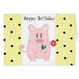 Cumpleaños chistoso del cerdo tarjeta de felicitación