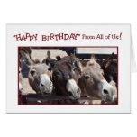 Cumpleaños chistoso del grupo del burro, todos tarjeta