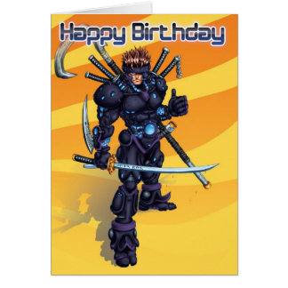 Cumpleaños cibernético del samurai tarjeta