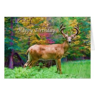 Cumpleaños, ciervo en la tarjeta de maderas