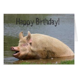 Cumpleaños codicioso del cerdo tarjeta de felicitación