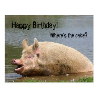 Cumpleaños codicioso del cerdo postal