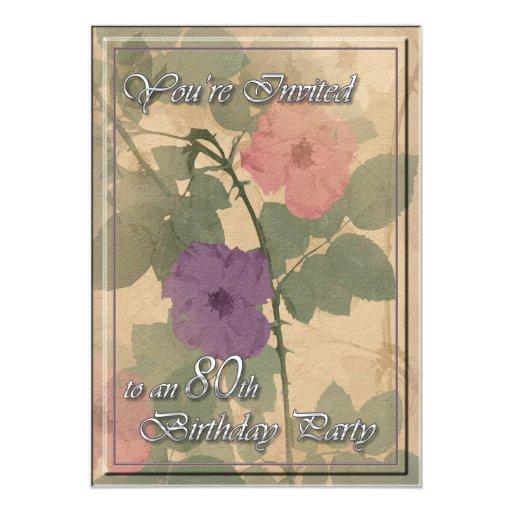 """Cumpleaños color de rosa polvoriento antiguo 80 invitación 5"""" x 7"""""""