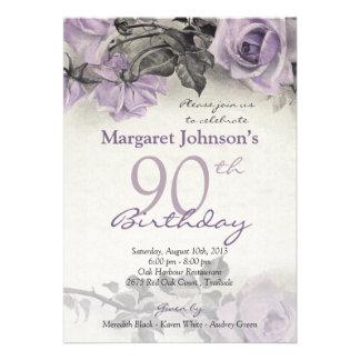Cumpleaños color de rosa púrpura de la plata ester