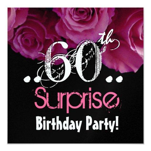 """Cumpleaños color de rosa rosado de la sorpresa del invitación 5.25"""" x 5.25"""""""
