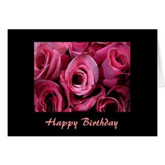 Cumpleaños color de rosa rosado tarjeta de felicitación