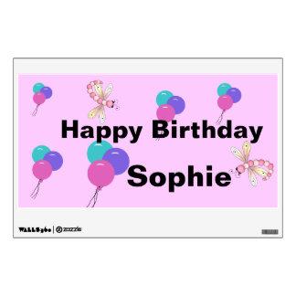 Cumpleaños colorido de los globos y de las libélul vinilo adhesivo