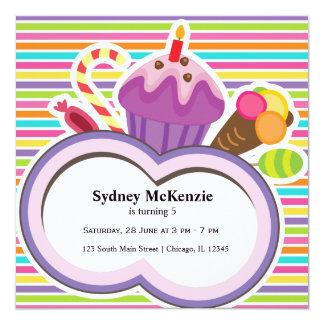 """Cumpleaños colorido invitación 5.25"""" x 5.25"""""""