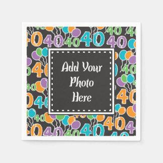 Cumpleaños colorido personalizado de la foto 40.o servilletas desechables