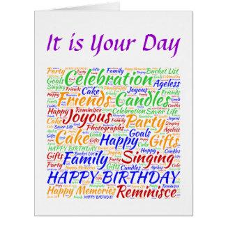 Cumpleaños colorido tarjeta de felicitación grande