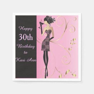Cumpleaños con clase del personalizar para ella servilletas de papel