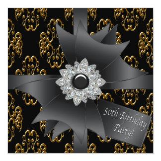 """Cumpleaños con clase del regalo negro del damasco invitación 5.25"""" x 5.25"""""""