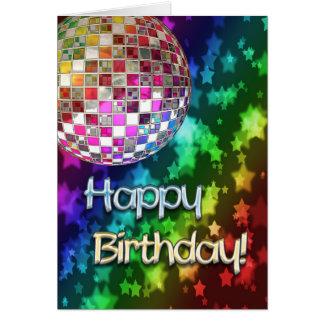 Cumpleaños con la bola de discoteca y el arco iris tarjeta de felicitación