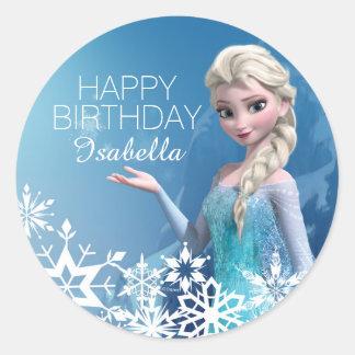 Cumpleaños congelado de Elsa Pegatina Redonda