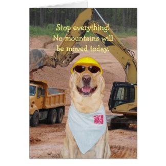 Cumpleaños construcción/del perro/del laboratorio tarjeta de felicitación