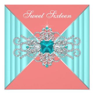 """Cumpleaños coralino del dulce 16 de las azules invitación 5.25"""" x 5.25"""""""