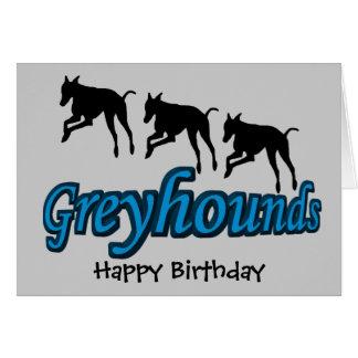 Cumpleaños corriente del perro de los galgos tarjeta de felicitación