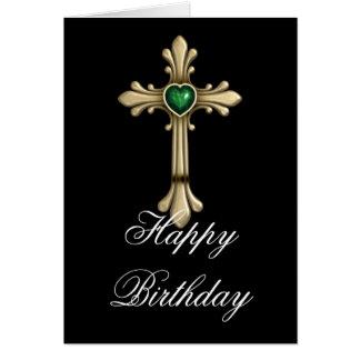 Cumpleaños cruzado del verde 2 de oro de Birthston Tarjeton