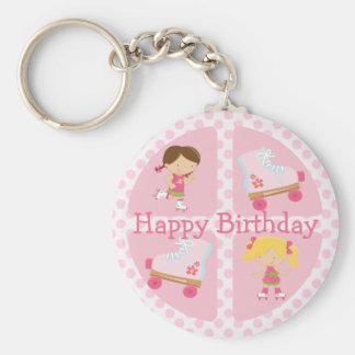 Cumpleaños cuadrado del Rollerskating del rosa cua Llavero Redondo Tipo Pin